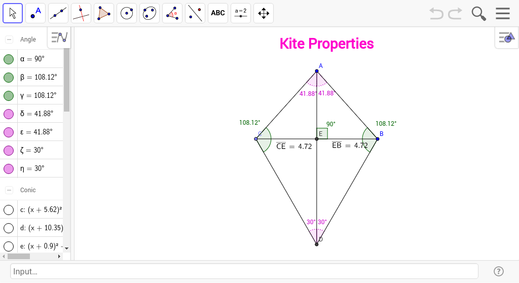 Properties Of Kites And Isosceles Trapezoids Geogebrabook