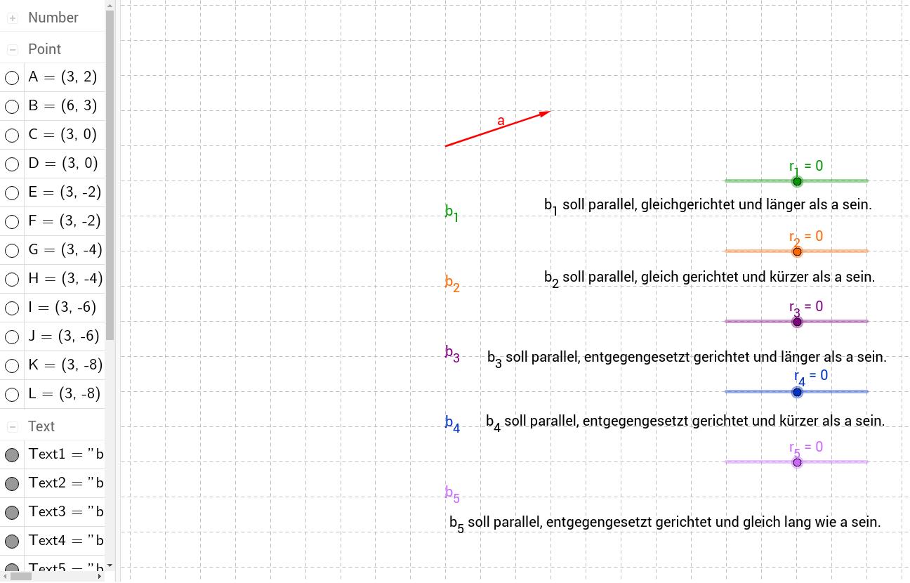Multiplikation eines Vektors mit einer reellen Zahl 2 - GeoGebraTube