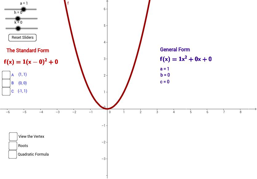 Quadratic Compare Vertex To Standard Forms Geogebratube