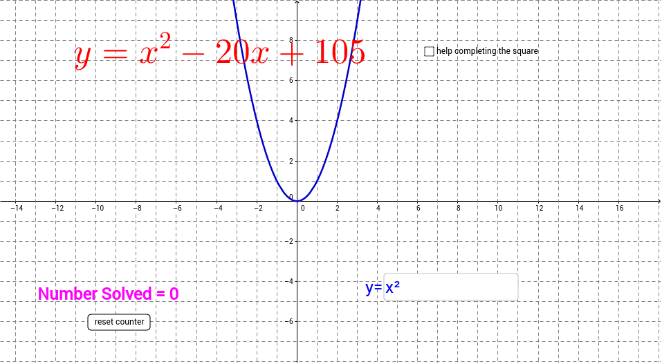 Quadratic Functions Converting Standard To Vertex Form Geogebratube