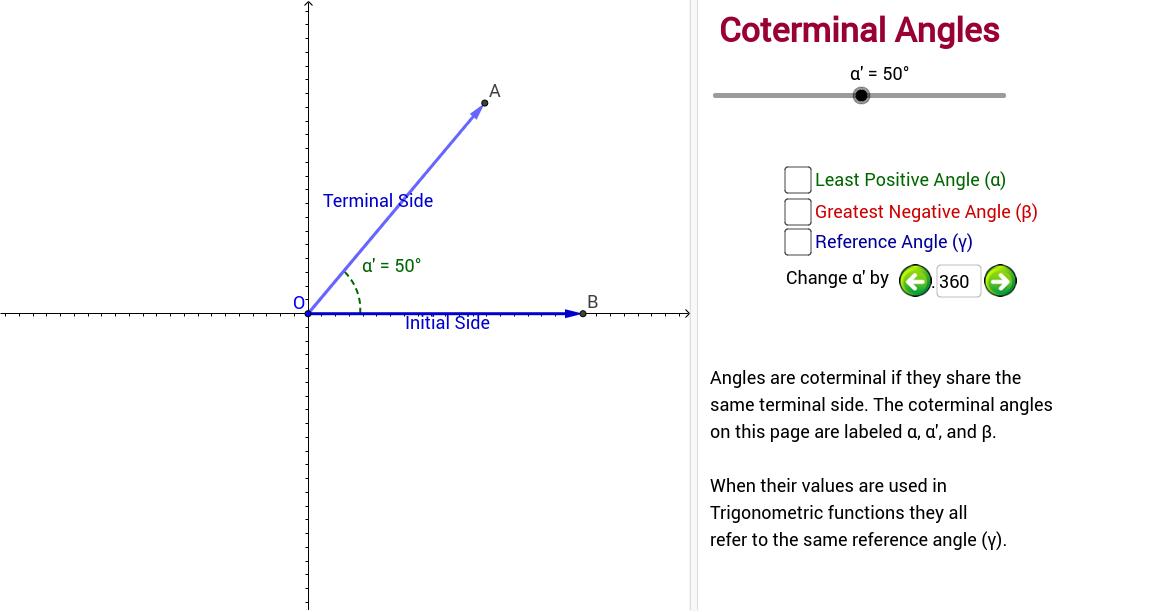 Copy Of Defining The Coterminal Angle Geogebratube