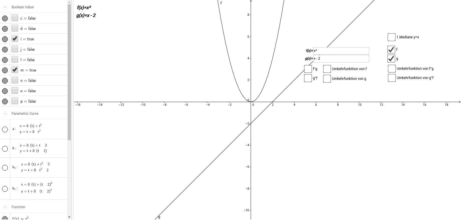 Funktionen - Verkettung und Umkehrung - GeoGebraBook