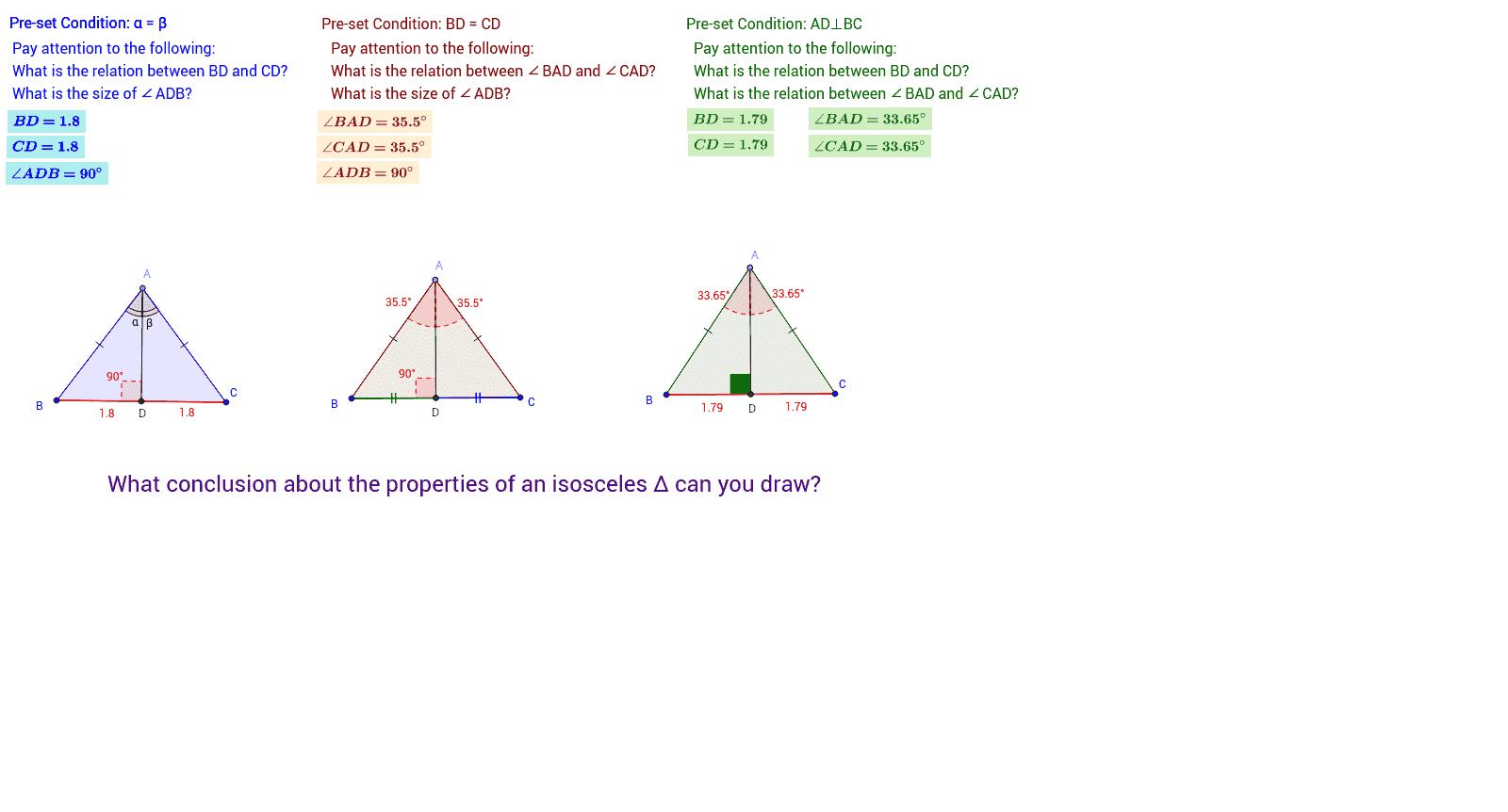 Properties of an isosceles triangle 97