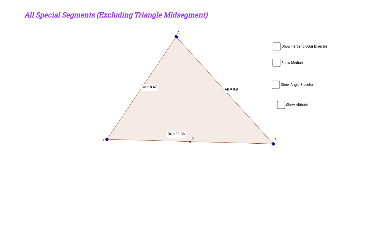 Worksheets Special Segments In Triangles Worksheet special segments in triangles geogebrabook all excluding triangle midsegment