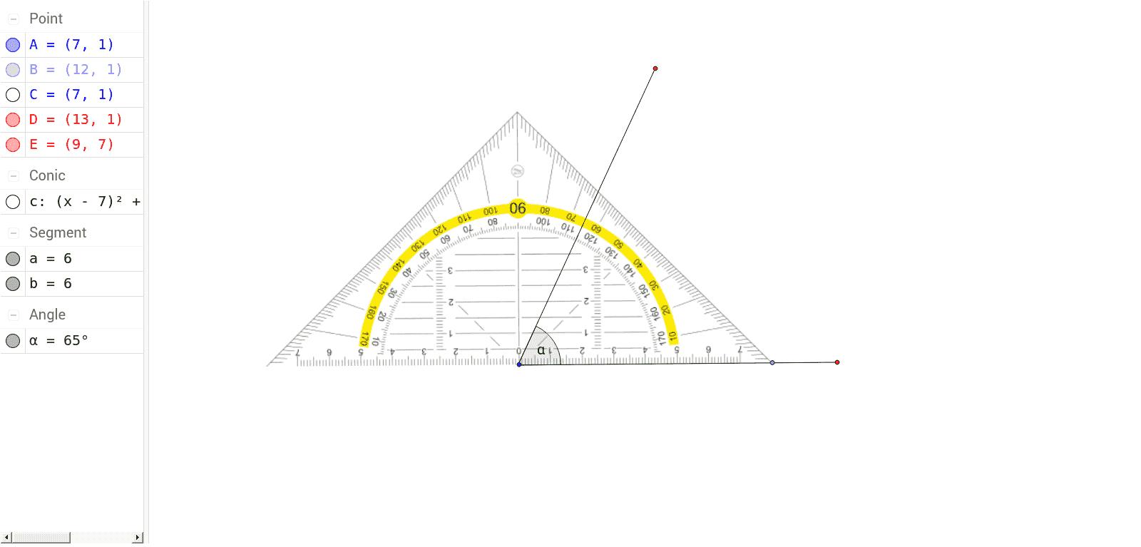 winkel messen mit dem geo-dreieck - geogebratube