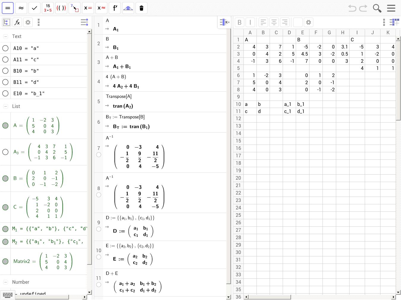 FoBi: GeoGebra-II: Matrizen im BG - GeoGebraBook